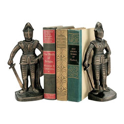 "EttansPalace - 9"" Bronze Finish Medieval Knight Sculpture Statue Decorative Iron Bookends - Exclusive knights to guard your books! These heavy protectors of the realm of foundry cast iron will stand watch over your prized volumes, swords at side. with a bronze finish, they'll add smart styling to any room and will make an imaginative gift to anyone who loves the chivalry of the medieval."