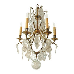 """Antique Rococo Style Six Light Chandelier with Cut Glass and Crystal, Leaf Shape - Dimensions :  18.5"""" diameter; 30"""" high"""