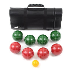 Lion Sports - Best 107 MM Tournament Resin Bocce Set in Tub - The Lion Sports 107mm Resin Tournament Bocce set is made for the serious recreational player. This professional looking clear resin Bocce set feels great and plays great. Perfect for any skill level, the classic red and green balls are made of durable resin . 4.2 in. L x 4.2 in. W x 4.2 in. H (20 lbs)The Lion Sports 107mm Resin Tournament Bocce set is made with the serious player in mind. This professional looking set feels great and plays great. Perfect for any skill level, the classic red and green balls are made of durable resin. Resin is the most popular material for bocce balls and will withstand the frequent clicks, clacks, knocks and slams better than other materials. The set includes 8 - 107mm Resin Bocce Balls, 1 - 60mm Resin Pallino, Rules and Tube Style carry case. Recommended for Adults.
