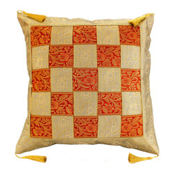 "Banarsi Designs - Game of Chess Pillow Cover, Set of 2, Creamy Golden Orange - India is portrayed by its radiant and preposterous colors, designs, styles, and appealing textiles. One of Banarsi's intriguing designs is what we call the ""Game of Chess Pillow Cover"" which exhibits the Middle Eastern ambiance in its splendorous plait pattern that intertwines two exotic tones, transforming it into a chess inspired pattern."