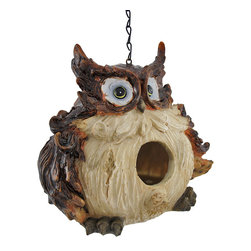 Zeckos - Adorable Wide-Eyed Owl Hanging Bird House - This adorable owl will gladly make room in his round belly for a family of friendly birds. The birdhouse measures 8 inches wide, 7 inches tall, and 6 inches deep, providing plenty of cozy space for a small avian family. The cold cast resin material of the house won't rust or deteriorate in the weather. The owl has a hand painted finish that accentuates its ruffled feathers and gives a shiny gleam to its sleek feathers. A 9 inch long chain allows the birdie dwelling to hang from a tree or other such support. This piece makes an adorable garden accent and an excellent home for a family of fledglings.