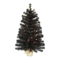 """Vickerman - Black Pine Tree G12 35LED Orange (36"""") - 36"""" Black  Tree  138 PVC Tips, 35 Orange G12 LED Lights,  Burlap Base"""