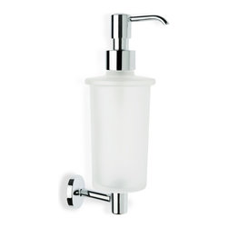 StilHaus - Wall Mounted Frosted Glass Soap Dispenser with Brass - Contemporary designed bathroom wall soap dispenser.