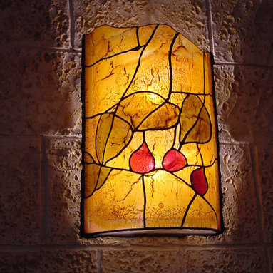 Galilee Lighting - Wall sconces - a graceful stained glass artwork, created by our artist, with unique colors and beautiful patterns. our artist creates art glass windows, doors, glass painting, stained glass wall decor, glass surfaces, abstract wall art works and special items.