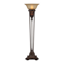 "Lamps Plus - Traditional Fleur-De-Lis Torchiere Floor Lamp - This handsome French-inspired floor lamp makes a classic design statement. Champagne glass with a patterned border sits on top offering warm elegant lighting. The open-tier base features decorative Fleur-de-Lis accents and a mica accent light that can be used separately from the main light. Wood base with an antique bronze finish frame. Includes a foot switch with dimmer for the top light and on/off button for the mica accent light. Takes one 150 watt bulb (not included) and includes two 7 watt night light bulbs. 76"" high. 20 1/2"" diameter top shade.  Bronze finish.  Champagne glass shade with patterned border.  Natural mica surrounds the accent light.  Cast resin metal wood and glass construction.  Takes one 150 watt bulb (not included).  Includes two 7 watt night light bulbs.  Foot switch with dimmer for the top light and on/off button for the mica accent light.  76"" high.  20 1/2"" diameter glass shade.  19"" base."