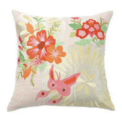 Emma at Home - Joy Pillow - The soft color palette in this pillow will have you dreaming of spring no matter what the season. Its soft color palette and floral design bring subtle hints of garden whimsy to any room.