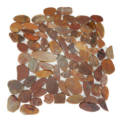 Flat Auburn Pebble Tile, 10 pieces - All natural polished red pebble tile that is the perfect choice for bathroom, kitchen, backsplash, pool, spa, and floor tiles. It adds a sense of beauty, luxury, and elegance to any indoor or outdoor application. Each stone is meticulously sorted by hand according to its size, color, and shape. Then, they are attached to a web mesh by pollution-free glue. Flat pebble tiles are very popular for both indoor and outdoor flooring. This item is sold by box with 10 pieces in each box. Individual sheets are available through our seller account. Please note: Pebbles are a natural product so variations in color and texture are to be expected. All tiles should be inspected before installation, as no adjustment will be made after installation.