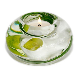"""Emilio Robba - T Light Candle Holder, White Calla Lily, Small - Small round glass t-light candle holder filled with Calla Lilies and our exclusive """"Illusion Water"""". (ER040WCA)"""