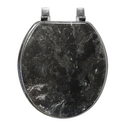 Trimmer - Black Marblized Molded Wood Toilet Seat - Make your bathroom a bit more inviting with this attractive wood toilet seat designed to look like black marble. This handsome accessory resists stains and water, so you can rest assured that it will continue to look great for years to come.