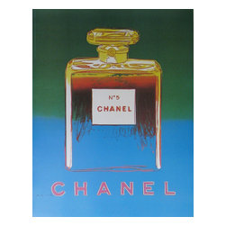 Vintage European Posters - Chanel No.5 Poster (Green/Blue) - The Chanel series is a chic example of contemporary commercialism, designed by one of the masters of commercial pop art, Andy Warhol.  Although Warhol designed these in 1985, his unexpected death delayed the printing for about two decades, leaving them to still be fairly accessible in the world of Warhol's coveted estate. They were printed in a larger format made for street display, while these smaller posters were intended to be hung in Chanel stores and department stores all around the world.