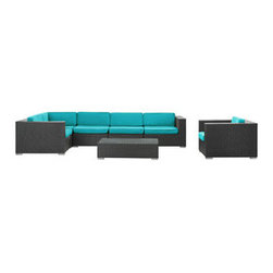 "LexMod - Corona 7 Piece Outdoor Patio Sectional Set in Espresso Turquoise - Corona 7 Piece Outdoor Patio Sectional Set in Espresso Turquoise - Stages of sensitivity flow naturally with Corona's robust seating experience. Find meaning among cliffs and caverns as you become the agent of influence in the espresso rattan base and all-weather turquoise fabric cushion repast. Open yourself to splendorous insights as you impart positivity among friends and family. Set Includes: One - Corona Outdoor Wicker Patio Armchair One - Corona Outdoor Wicker Patio Coffee Table One - Corona Outdoor Wicker Patio Corner Section One - Corona Outdoor Wicker Patio Left End Section One - Corona Outdoor Wicker Patio Right End Section Two - Corona Outdoor Wicker Patio Armless Sections Synthetic Rattan Weave, Powder Coated Aluminum Frame, Water & UV Resistant, Machine Washable Cushion Covers, Easy To Clean Tempered Glass Top, Ships Pre-Assembled Coffee Table Dimensions: 43""L x 24""W x 12""H Armless Section Dimensions: 29""L x 35""W x 25""H Armchair Dimensions: 35""L x 35""W x 25""H Left End Section Dimensions: 35""L x 35""W x 25""H Right End Section Dimensions: 35""L x 35""W x 25""H Corner Section Dimensions: 35""L x 35""W x 25""H Seat Height: 12""HBACKrest Height: 25""H Armrest Dimensions: 6""W x 25""H Cushion Depth: 4""H Overall Product Dimensions: 128""L x 70""W x 25""H - Mid Century Modern Furniture."