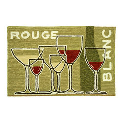 Homefires - Grand Vins Rug - Glasses of red and white wine in 3D perspective headline frame the tableau. A silhouetted bottle is in the background beckoning a pour. This accent rug is the perfect gift for wine lovers and casual aficionados ... and you'll love it near your vintage stash.