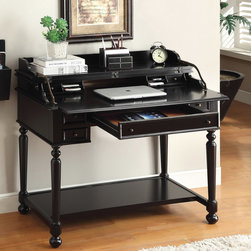 Furniture of America Traditional Multi-Storage Pull-Out Secretary Writing Desk -