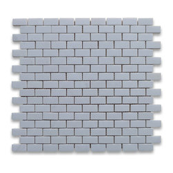 Stone Center Corp - Thassos White Marble Subway Brick Mosaic Tile 5/8 x 1 1/4 Honed - Premium Grade White Thassos Marble Mini Brick Mosaic tiles. Greek Thassos White Pure White Marble Honed 5/8 x 1 1/4 Brick Mosaic Wall & Floor Tiles are perfect for any interior/exterior projects. The 5/8x1-1/4 Thassos White Marble Mini Brick Mosaic tiles can be used for a kitchen backsplash, bathroom flooring, shower surround, countertop, dining room, entryway, corridor, balcony, spa, pool, fountain, etc.
