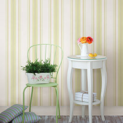 Lenna Yellow Jasmine Stripe Brewster Wallpaper - The Claremont book from Brewster is full of classic colors and patterns to add a relaxed feeling of home to rooms.
