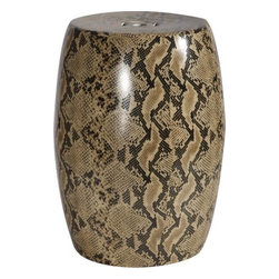 Ceramic Snakeskin Garden Stool - This snake print pattern in a bold color palette instantly catches the eye. It's perfect for a masculine den.