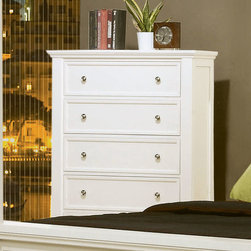 Sandy Beach Chest - This Sandy Beach master bedroom collection is crafted to perfection with clean, straight lines and inset frame detail, carved legs and molded edging. It is constructed of select hardwood solids and veneers and finished in bright white. The case pieces have multiple full extension drawers with dove tail construction and offer an abundance of storage. The dresser features discrete drawers behind glass cupboard doors and the nightstand features an extendable tray. Complete your room with the matching TV console that offers six additional drawers and two media compartments. Photo: Coaster Company