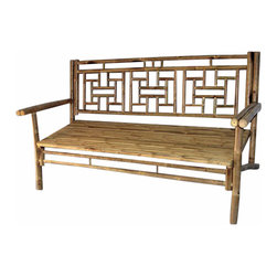 "Master Garden Products - Standard Lattice Back Bamboo Bench, 54""L x 21""W x 36""H - We use natural iron bamboo, also known as Tam Vong bamboo, which are straight and relatively thick walled to make these incredibly strong benches. Our benches are designed to be shipped knock down to save you money on shipping. Finished with natural bamboo oil for extra protection. Back bench support is 54""L x 21""W x 36""H."