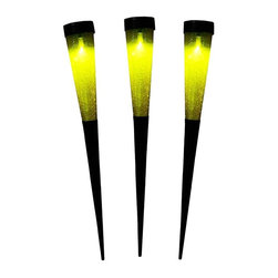 """Achla - Solar Cones Yellow 3pk - Each cone is 15 1/2 in. h with spiked bottoms. Crackle glass emits beautiful light. Lithium-Ion battery for a long lasting glow. 2 in. D X 2 in. W X 15.5 in. HA great way to add sparkle, light and a festive feel to any spot without running expensive, electrical wiring. Sometimes referred to as """"living lights"""", these cones provide the warmth often associated with candlelight. The glass is crackle and mouth blown. Available in 6 colors. The solar panel is easy to charge and should last about 6  - 8 hours."""