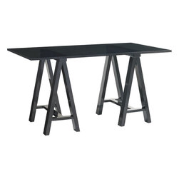 Lexington - Lexington Carrera Europa Architects Desk - The Europa Architect's Desk is comprised of two free-standing metal trestle bases and a custom 3/4 inch polished edge smoked gray glass top. The top is a two piece layered glass design.Carbon gray finish.