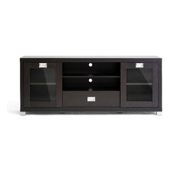 Wholesale Interiors - Matlock Modern TV Stand with Glass Doors - It's all about a place for everything and everything in its place from top to bottom with the Matlock TV Stand. Adjustable-position shelves. Check. Sliding glass doors. Check. Drawer for DVDs or accessories? Check. Lapped chipboard construction with dark brown paper veneer, silver legs and drawer pulls, and rear openings for cable management round out this full-featured entertainment center. Clean the TV unit with ease with just a damp cloth. Made in Malaysia, assembly is required.