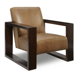 """Passport Home - Roma Chair - This distinct chair offers a modern profile. With its geometric shaped exposed wood arm and distress leather, this chair offers uncompromising sophistication. Tailored to perfection in full-grain leather, tanned to a caramel brown that highlights its natural beauty and markings. Features: -Seat cushions of high performance.-Seams are sewn with bonded nylon.-Monofilament threads for strength and flexibility.-Attached arm and back pillows have easy access zippers.-Soft and resilient 1.8 high density polyurethane foam with foam wrap.-Aniline-dyed leathers of top grain enhance the surface.-Frame meets the strict standards of the California Air Resources Board.-Major frame joints are corner blocked, glued, and stapled for added stability.-Back pillows are filled with the finest quality polyester fiber for comfort and long-lasting resiliency.-Outside panels are padded to add softness and support to the fabric or leather, preventing it from sagging and becoming loose.-Tempered steel sinuous springs for both back and seat suspension ensures that your back pillows and seat cushions are properly supported and that extraordinary seat comfort is provided.-34.5"""" H x 29"""" W x 34"""" D, 70 lbs.-Collection: Roma.-Distressed: No.Dimensions: -Overall Product Weight: 70 lbs."""