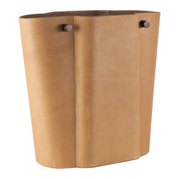 """Studio A - Serpentine Camel Wastebasket - The Serpentine wastebasket displays distinct style with its elegant shape and modern details. This receptacle lends sophistication with a camel-colored fae��_ade and metal accents. 13.5""""W x 6.25""""D x 12.25""""H; Antiqued leather exterior; Suede interior; Antique bronze hardware"""