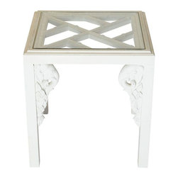 Pre-owned Chinoiserie Fretwork Elephant Side Table - Chinoiserie side table with inset glass atop faux bamboo fretwork, and carved elephant details in corners. The table has original paint with a crackle finish on the top. It looks great as is, but it could be a great candidate for a refinishing project.
