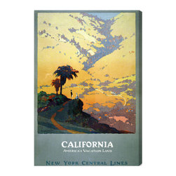"The Oliver Gal Artist Co. - 'California Vacation Land '  Fine Art Canvas 24"" x 36"" - Hang this hand-stretched fine art canvas in your home and you'll be California dreamin' year-round. The vintage advertisement features iconic palm trees and an endless vista of rolling yellow hills. It's the perfect piece for any travel lover."