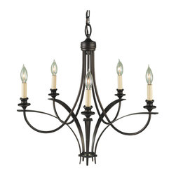 Feiss - Feiss F1888/5ORB Boulevard 5 Light Oil Rubbed Bronze Chandelier - Finish: Oil Rubbed Bronze