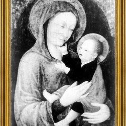 """Jacopo Bellini-16""""x24"""" Framed Canvas - 16"""" x 24"""" Jacopo Bellini Madonna mit dem Kind framed premium canvas print reproduced to meet museum quality standards. Our museum quality canvas prints are produced using high-precision print technology for a more accurate reproduction printed on high quality canvas with fade-resistant, archival inks. Our progressive business model allows us to offer works of art to you at the best wholesale pricing, significantly less than art gallery prices, affordable to all. This artwork is hand stretched onto wooden stretcher bars, then mounted into our 3"""" wide gold finish frame with black panel by one of our expert framers. Our framed canvas print comes with hardware, ready to hang on your wall.  We present a comprehensive collection of exceptional canvas art reproductions by Jacopo Bellini."""