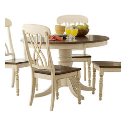 Homelegance - Homelegance Ohana Round Pedestal Dining Table in White and Cherry - The design of Ohana collection captures the essence of a casual country home. Its antique white and warm cherry, or antique black and warm cherry finishes give it a striking 2-toned appearance.