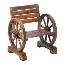 n/a - Wagon Wheel Chair - This all-wood chair is the perfect perch to sit back and enjoy your garden or yard.  It will add a dash of charming country style to any outdoor living space.  Fir wood.  Some assembly required.