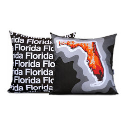 Florida Map Pillow, Charcoal - This dual sided pillow features a topographical map of Florida on the front and the state name text on the reverse.