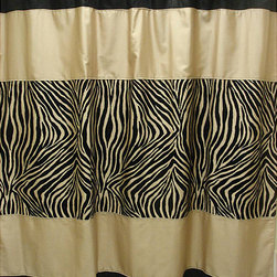 Sherry Kline - Zuma Zebra Shower Curtain and Hook Set - This exotic zebra shower curtain is perfect for giving the bathroom a stylish and sultry feel. With 12 shower hooks,this polyester curtain offers privacy and is durable as well as safe. The black and taupe zebra design simply looks great.