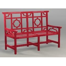 Wrought Iron Mandarin Bench Settee by The Well Appointed House - This red wrought iron mandarin bench would be the focal point of any garden and is available in many colors.