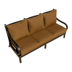 Lakeview Outdoor Designs - Avondale Cast Aluminum Patio Sofa - Strong lines and oversized frames are paired with full, plush cushions in the Avondale collection for the best in relaxation and comfort. Unwind or curl up with a good book on this sofa. The extra-large, 6-inch thick cushions are made with a neutral, canvas teak Sunbrella fabric that will retain its color even after years in the sun and weather. This all welded, weather-resistant cast aluminum set features thick, powder-coated antique bronze frames that will not weather from season to season. The bottom of the frames are capped with non-marking leveling feet for support.