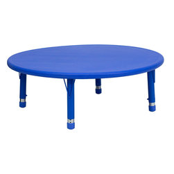 Flash Furniture - 45'' Round Height Adjustable Blue Plastic Activity Table - Encourage your child to dream on. This round activity table is the perfect space for art projects, and best of all, the adjustable legs enable it to grow with your child.
