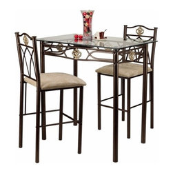 Hazelwood Home - Three Piece Bistro Table Set in Gold - Features: -Set includes bistro table and two chairs. -Gold finish. -Metal and glass construction. -Assembly required. -Manufacturer provides one year warranty on parts replacement.
