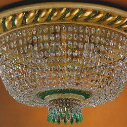 Artistica - Hand Made in Italy - Alba Lamp: Ceiling Light: Swarovski Gold Leaf/Silver Leaf/H.C. Wood - Alba Lamp Collection:
