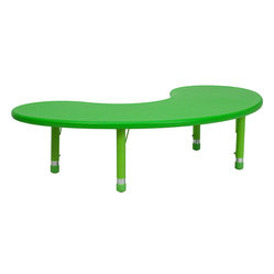 Flash Furniture - 35''W x 65''L Height Adjustable Half-Moon Green Plastic Activity Table - This space was made for creativity! An adjustable half-moon table for your child is the perfect way to encourage imaginative play and fun art projects. Put it in the playroom and watch imaginations soar!
