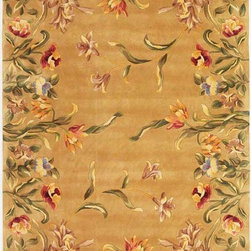 """KAS - KAS Emerald 9080 Tulip Garden (Gold) 5'6"""" Round Rug - Our Emerald Collection is a rich and vibrant line of high density hand-tufted wool rugs. Made in China in a 90-Line quality, this collection offers intricate designs in a medley of lush colors. The designs range from classic French and Orient aubussons to florals. These rugs are beautifully versatile in design and color and complement a broad range of decorating tastes. No fringe."""