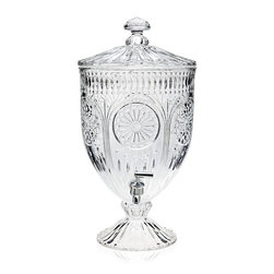 """Godinger Silver - Medallion Crystal Footed Beverage Dispenser - Treat your house guests to en elegant night of home entertaining with our stunning etched glass beverage dispenser. Perfect for gatherings that call for plentiful servings, this 2 gallon crystal beverage server is sure to add a dash of class and convenience to your next party or gathering. With an intricate textured glass in the shape of medallions, this drink dispenser is a true eye catching piece of serve ware, sure to be treasured for generations to come. Just fill it to the brim with your favorite beverage, and enjoy the convenience at the turn of its high quality spout.    * Capacity: 2 gallons  * Dimensions: 11.60""""D X 19.80""""H"""