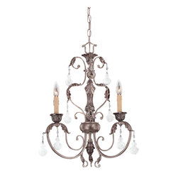 Savoy House - Savoy House 1-9724-3-176 Florita 3 Light Mini Chandelier - A dazzling and distinctively formal design which features our elegant brand new finish ? Silver Lace. Clear Crystals and Cream Beeswax Candle Covers.