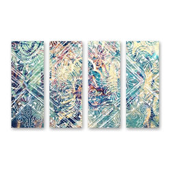 "The Oliver Gal Artist Co. - ''Damask 4 Panels' 12""x32"" Canvas Art - Fine art premium canvas print with hand brushed acrylic finish"