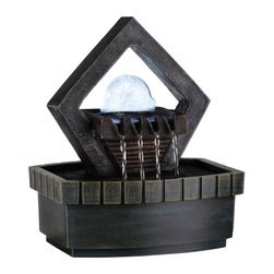 """ORE International - 9.5"""" Meditation Fountain with LED Light - How would you like to add peace and tranquility to your home? Well, this is the perfect item. Standing only a little over 9 inches high, this fountain can really make a statement. It uses LED light and glittering crystal to stand out above other small tabletop fountains. It would go perfect on a side table as an added touch or as a centerpiece. It will surely provide a relaxing and soothing atmosphere."""