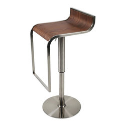 Euro Style - Foretta Adjustable Bar/Counter Stool - Wood veneer seat. Satin nickel frame, foot rest and base. Gas lift and swivel. Seat height: 21-30 in.. 20.08 in. W x 14.96 in. D x 35.63 in. H (9 lbs.)Grand ideas for small spaces, the smooth and clean geometric shapes give your rooms a trendy, up-to-date look. The furniture design make your rooms stylish and sophisticated, symbolizing your self confidence.