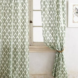 """Anthropologie - Shimmering Jacquard Curtain - Tunnel tab constructionPolyester, rayon; cotton liningMachine wash40""""WImported"""