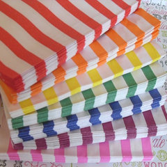 Rainbow Striped Paper Bags for party favors by BakersBlingShop