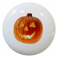 Carolina Hardware and Decor, LLC - Pumpkin Ceramic Cabinet Drawer Knob - New 1 1/2 inch ceramic cabinet, drawer, or furniture knob with mounting hardware included. Also works great in a bathroom or on bi-fold closet doors (may require longer screws).  Item can be wiped clean with a soft damp cloth.  Great addition and nice finishing touch to any room.